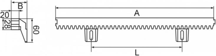 Listwa zębata poliamidowa z rdzeniem metalowym - wymiary