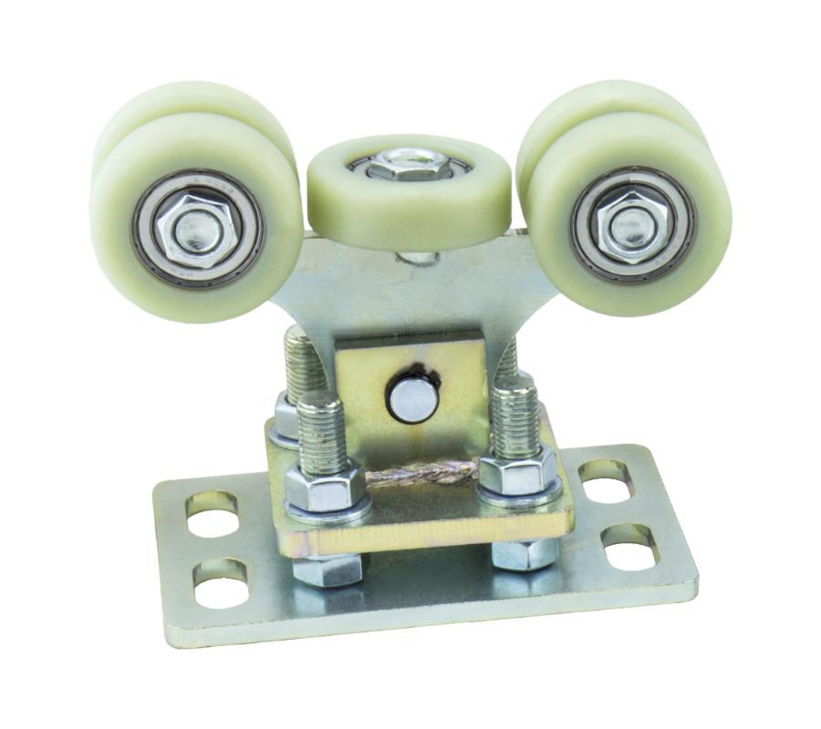 Wózek bramy przesuwnej,regulowany, do szyny 60x60x3, z 5-cioma rolkami z tworzywa