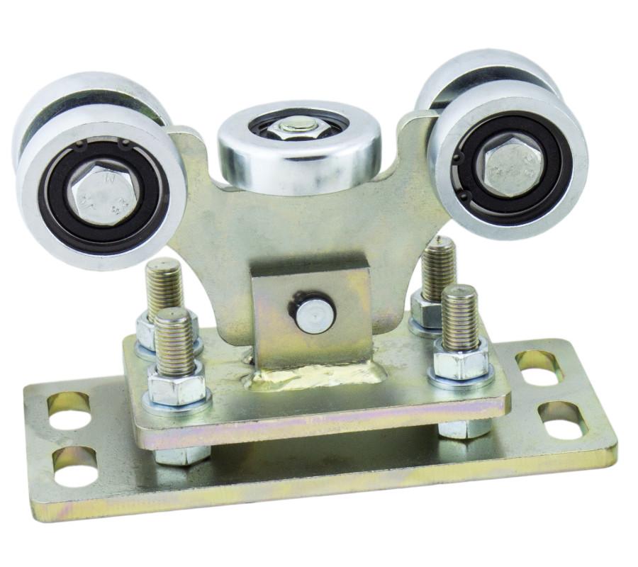 Wózek bramy przesuwnej, regulowany, do szyny 80x80x5, z 5-cioma rolkami stalowymi, platforma 250 mm, łożyska 6304 RS