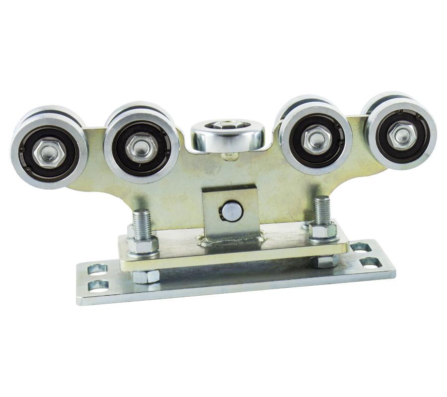 Wózek bramy przesuwnej, regulowany, do szyny 80x80x5, z 9-cioma rolkami stalowymi, łożyska s52, platforma 290 mm